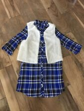 NEW Amy Byer Long Tunic or Dress Size 14 Blue & White Plaid w/ Faux Fur Vest