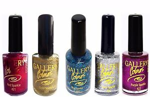Sparkle & Glitter Nail Varnish NEW Shades Silver Pink True Red Blue Purple Gold