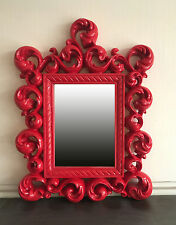 Mirror Red Wall 64 x 54 cm Antique Baroque Reproduction Exclusive Ornaments