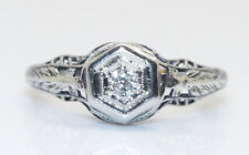 Gorgeous 18K White Gold Antique Art Deco Style .05 Ct Diamond Wedding Ring 6.75