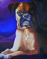 8x10 BOXER Fawn Brindle Dog Signed Art PRINT from Original Oil Painting by VERN