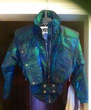 Vtg 80s NILS Iridescent Multi-color Womens 4 Petite Belted neon SKI Jacket Coat