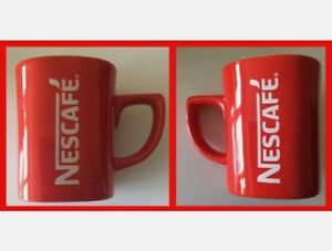 """Large NESCAFE Red Coffee Cup / Mug Square Shaped H 4""""/10cm"""