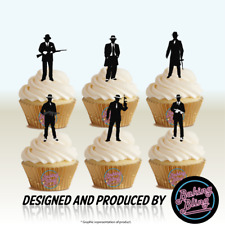12 Novelty Thirties Gangster Silhouette Mix Edible Cake Toppers Decorations