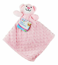 Baby First Steps Supersoft Dimple Fleece Comfort Blanket With Teddy 3 Colours Pink