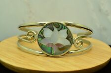 """6"""" SILVER PLATED INLAID ABALONE & MOP FLOWER DESIGN CUFF BRACELET #X21366"""