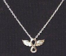 Infinity w/ Wings Pendant & Link Chain Necklace 925 Silver 18""