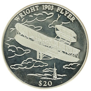 Liberia - Silver 20 Dollars Coin - 'Wright 1903 Flyer' - 2000 - Proof