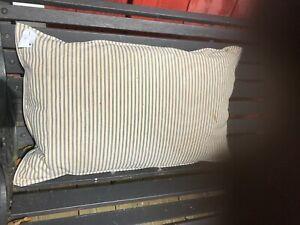 Vintage FEATHER DOWN Pillows old style Farm house blue stripe 2(15 x 26 )  13x25
