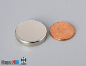 """1""""dia x 2/10"""" N45 25.4 x 5.08mm  STRONG Rare Earth Neodymium Round Disc Magnet"""