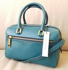 $750 NEW Marc Jacobs Bauletto Teal Leather Small Satchel Tote Hand Bag