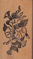 "flower bouquet stampa rosa Wood Mounted Rubber Stamp  1 1/2 x 3""  Free Shipping"