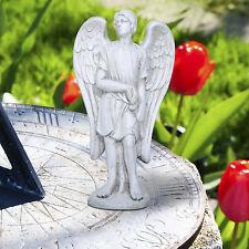 "14"" Standing Angel Garden Statue w/Wings Sword Male Stone Yard Patio Decoration"