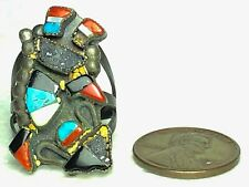 Size 7.5 Beaded Metal Trim Colorful Vintage Metal Turquoise Cluster Fashion Ring
