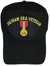 VIETNAM ERA VETERAN with NATIONAL DEFENSE MEDAL CAP - BLACK HAT - Veteran Owned
