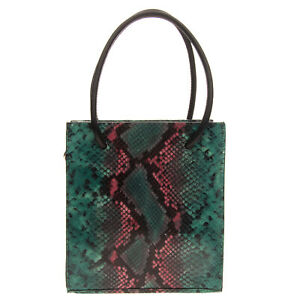 RRP€190 RAS Leather Tote Bag Snakeskin Pattern Two Handles Magnetic Snap Closure