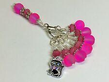 Hot Pink Cat Stitch Marker Set with Matching Holder (SNAG FREE)