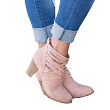Ladies Strappy Ankle Boots Womens Block Low Mid Heel Zip Casual Shoes Sizes 7-9