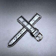 12-24 MM Watch Band Strap Genuine Leather Iwatch Alligator Cordial Wrist Black