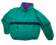 Nautica Reversible Goose Down Jacket Large Spellout Green Purple Puffer