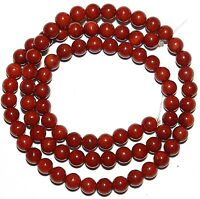 GR1648 Dark Red 5mm Round Bamboo Coral Gemstone Beads 15""