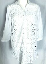 August Silk Women's Large Blouse White 3/4 Sleeves Button Down Embroidered