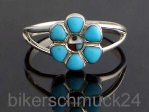 Indianer Schmuck Navajo Damen Silberring 925 Silber Türkis Inlay Southwest Style