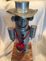 "Vintage Wizard Of Oz Tin Man Folk Art Robot Of Tin Cans 25"" Tall Handcrafted"