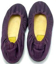 LANVIN HIVER 2007 Women's Satin Ballet Flat Purple Size 37 Plum Leather Shoes