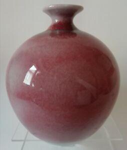 Vase boule en grès porcelaineux signé M. VALANTIN ou VALENTIN XIXe à identifier