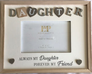 """Wooden Sentiments Daughter Photo Frame 4x6"""" Photo Present Gift"""