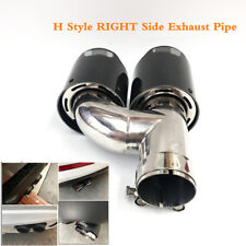 Right - 1PC Real Carbon Fiber Dual Pipe Exhaust Pipe Tail Muffler Tip 63mm/89mm