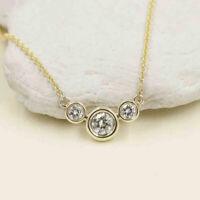 1.50 Ct Round Cut Diamond 14k Yellow Gold Finish Bezel Set Pendant Necklace