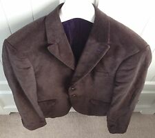 "Vintage Brown Velvet Style Cotton Suit Blazer Sports Jacket Men's UK 40"" Chest"