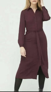 V by Very Long Sleeve Tie Midi Shirt Dress Wine Purple UK 12 BNWT New £35