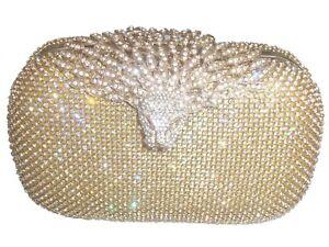 Gold Eagle Diamante Diamond Crystal Evening bag Clutch Purse Party Wedding Eid