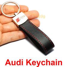 Audi Keychain S Line Logo Key Chain Sline Black Leather Car Belt Ring Keyring x1
