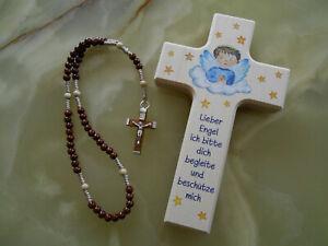 Rosenkranz Holzperlen plus Kinderkreuz Holzkreuz Geburt Taufe Kommunion Geschenk