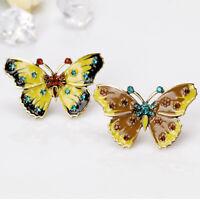 Creative Alloy Rhinestone Butterfly Enamel Brooch Lady Lapel Pin Cloth Accessory