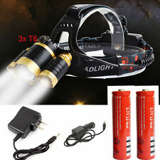 20000LM Cree 3xT6 LED Headlamp Headlight Head Light Zoom Torch Battery + Charger