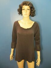 XL brown RUFFLED COLLAR AND CUFF PEASANT blouse unbranded