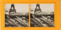 FRANCE Paris Exposition Universelle 1900 Gare Champs de Mars Train Photo Stereo