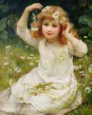 Flower Girl by Frederick Morgan Art Child Grass Meadow Daisy Hair 8x10 Print 694