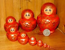 Russian nesting doll 10 RED GOLD MATRYOSHKA hand painted SIMAKOVA signed GIFT