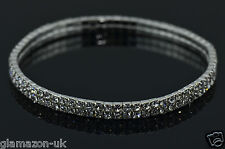 ANKLET 2 ROW RHINESTONE DIAMANTE ADJUSTABLE SILVER TONE UK FREE POST