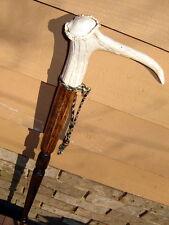 HandMade Dark Walnut Deer Antler fancy- lathe-turned HEMLOCK CANE/walking-stick