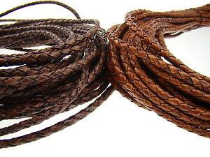 Lederschnur (ab 2,5€/m) geflochten 4 mm - Antik Farben. Farbe/Länge: wählbar