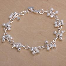 Women's Unisex 925 Sterling Silver Bracelet Sand Beads Balls L37