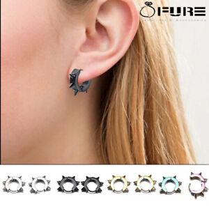 Stainless Steel Earrings Spike Rivet Hoop Huggie Gothic Pair Ear Stud Women Men