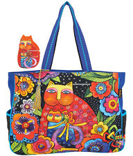 Laurel Burch Cat Mother Daughter OVERSIZED Tote Bag Trip Sport Craft Coin Purse